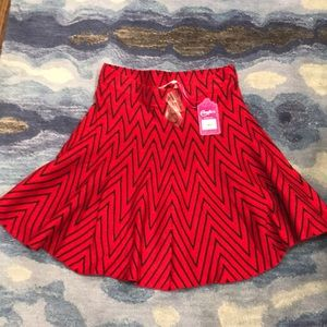NWT Candie's red & black stripes skirt